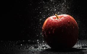 Wallpaper drops, fruit, water, Apple