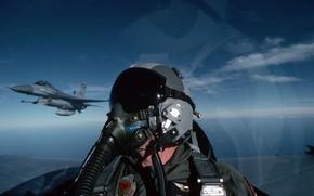 Wallpaper the sky, aviation, the plane, pilot, F-16