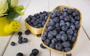 Picture flowers, blueberries, Berries, Basket, wood