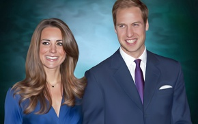 Picture smile, woman, pair, male, art, Prince William, Prince William, Kate Middleton, Catherine Elizabeth Middleton, the …