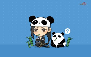 Picture the game, anime, bamboo, art, Panda, pet, Gian Vang, Tibetan sword
