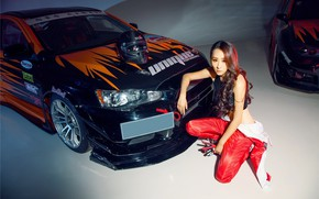 Picture auto, look, Girls, helmet, Mitsubishi, Asian, beautiful girl