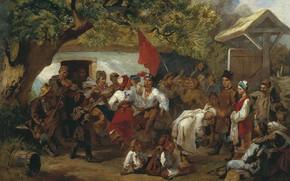 Picture oil, village, Canvas, Wedding, 1860, red flag, Ivan SOKOLOV