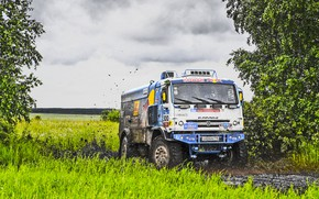 Wallpaper Grass, Sport, Speed, Clouds, Race, Master, Dirt, Squirt, Russia, Red Bull, 300, Kamaz, Rally, Rally, ...