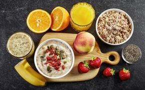 Picture berries, orange, Breakfast, strawberry, fruit, peach, porridge, oatmeal