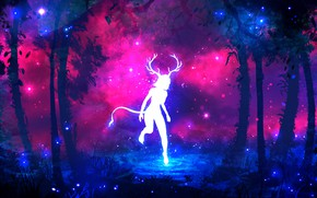 Wallpaper forest, purple, grass, water, girl, space, stars, trees, branches, fireflies, tree, lilac, pink, blue, dark, ...