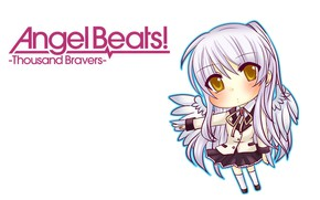 Picture Chibi, school uniform, Tenshi, yellow eyes, Kanade Tachibana, white wings, Angel Beats!, long white hair, …