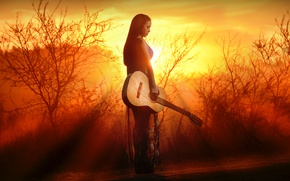 Wallpaper sunset, girl, guitar