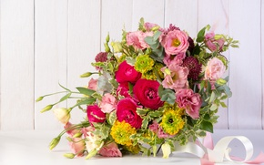 Picture roses, bouquet, eustoma