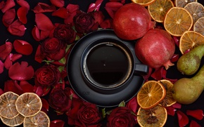 Wallpaper coffee, roses, Cup, fruit
