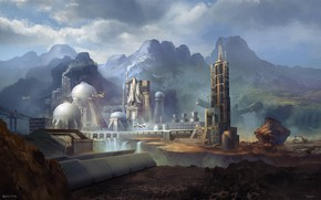 Picture mountains, waterfall, dam, spaceport, Station