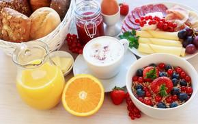 Picture coffee, Breakfast, juice, muesli
