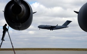 Picture Boeing, UNITED STATES AIR FORCE, military transport aircraft, C-17, Globemaster III, American strategic