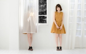 Picture girl, dress, window, Asian