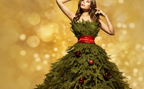 Picture Girl, New Year, Branches, Balls, Dress, Tree, Brown hair