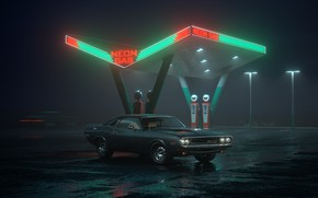 Wallpaper night, car, Dodge, Challenger, Neon Gas, neon, gas station, R/T