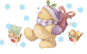 Wallpaper winter, letter, snowflakes, mood, holiday, gift, art, bear, New year, birds, children's, Forever Friends Deckchair ...