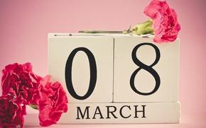 Wallpaper flowers, red, March 8, date, clove, women's day