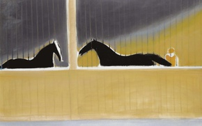 Picture picture, Horses in the Stable, Andre Brasilier