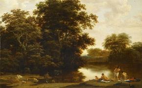 Picture nature, picture, Landscape with Bathers, Joris van der Hagen