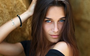 Picture look, face, pose, model, portrait, makeup, hairstyle, brown hair, in black, bokeh