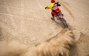 Picture desert, dust, motorcycle, racer