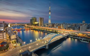 Picture night, bridge, lights, river, tower, home, Japan, Tokyo