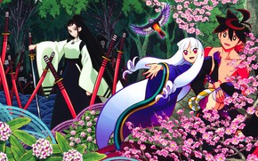 Picture girl, flowers, nature, bird, anime, art, guy, His, Katanagatari, Togame