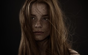 Picture portrait, beauty, freckles, red, photographer, Carsten Witte
