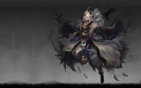 Picture fantasy, magic, art, guy, Raven, xio Zhu, Mountain sea Jue crow