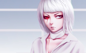 Picture girl, blood, monster, woman, anime, pretty, asian, manga, japanese, oriental, asiatic, red eye, Tokyo Ghoul, ...