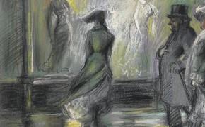 Picture people, street, figure, showcase, genre, 1903, Everett Shinn, Everett Shinn, Window Shopping