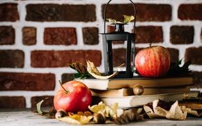 Picture autumn, leaves, apples, books, autumn fruits
