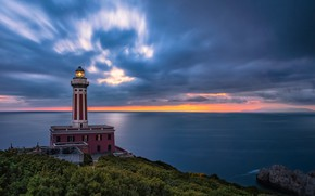 Picture sea, the sky, clouds, sunset, coast, lighthouse, Italy, Italy, Campania, Capri, Capri, The Bay of …