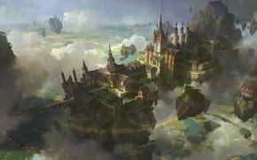 Wallpaper landscape, Islands, clouds, bird, castle, the city, magic, pentagram, flying