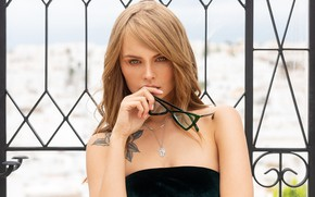 Wallpaper model, Anastasia Scheglova, Mark Prinz, tattoo, glasses, makeup, hairstyle, beauty, Anastasia Shcheglova, brown hair, in ...