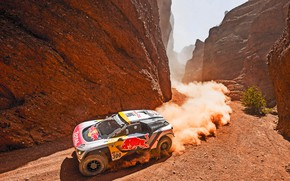 Wallpaper Mountains, Dust, Rocks, Sport, Speed, Race, Dirt, Day, Gorge, Peugeot, Lights, Heat, Red Bull, Rally, ...