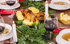 Picture baked chicken, lemon, wine, potatoes