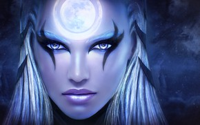 Picture girl, face, beauty, art, League of Legends, Diana, Scorn of the Moon