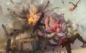 Picture weapons, girls, anime, art, Girls Frontline