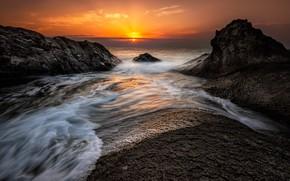 Picture sea, beach, landscape, sunset, nature, sunrise, stones, rocks, shore, nature, sunset, seascape, beautiful, rocks, sunrise, …
