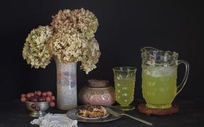 Picture grapes, hydrangea, lemonade