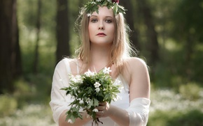 Picture look, girl, bouquet, wreath