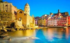 Picture sea, the sky, the sun, stones, shore, home, boats, Italy, Vernazza, Cinque Terre, Liguria