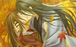Picture kiss, hugs, schoolgirl, falling leaves, long hair, Japanese clothing, art, maple leaves, closed eyes, hiiro …