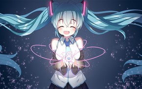 Picture anime, girl, Vocaloid, blue hair