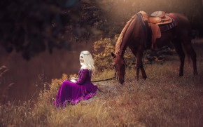 Wallpaper girl, nature, horse