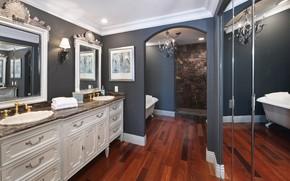 Picture design, room, mirror, chandelier, bath, mansion, chic