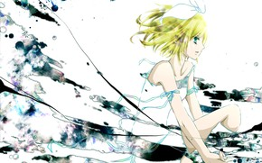 Picture girl, anime, art, blots, bow, Vocaloid, Vocaloid, Kagamine Rin