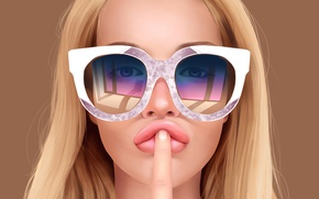 Wallpaper girl, face, art, glasses, finger, gesture